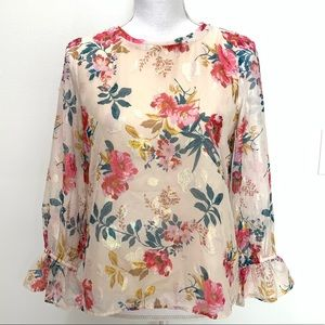 Loft Petites Floral Iridescent Long Sleeve Blouse